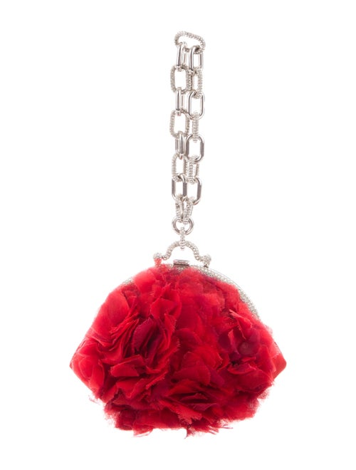 Valentino Satin Evening Clutch Red