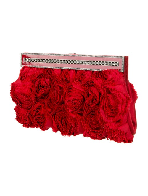 Valentino Satin Rose Clutch Red