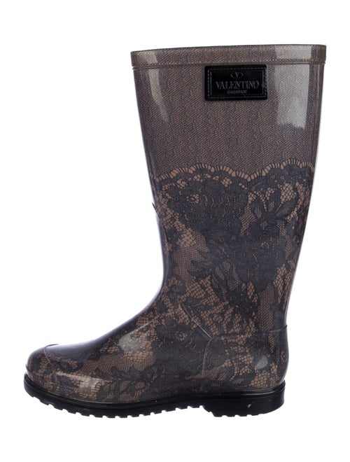 Valentino Rubber Lace Pattern Rain Boots Black