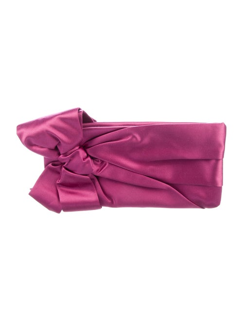 Valentino Satin Bow Clutch Pink