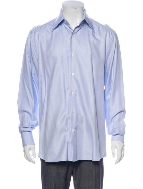 Valentino Vintage Patterned Dress Shirt Blue