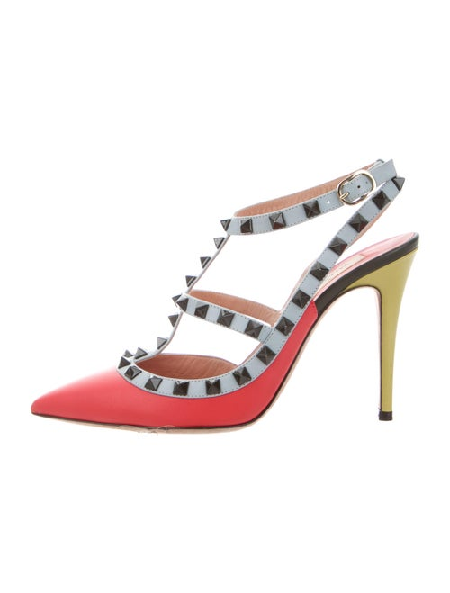 Valentino Rockstud Accents Leather T-Strap Pumps R