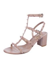 Valentino Rockstud Accents Leather Gladiator Sandals
