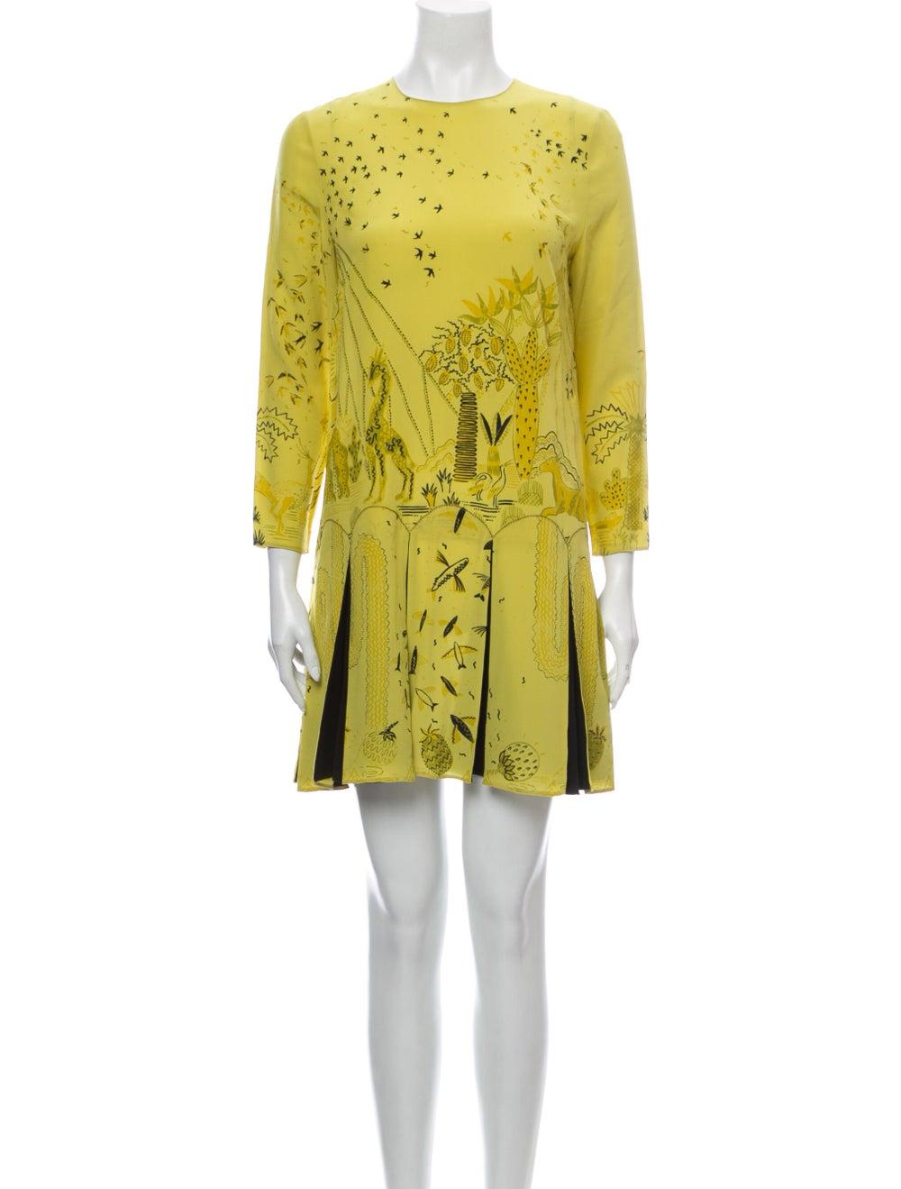 Valentino Silk Mini Dress Yellow - image 1