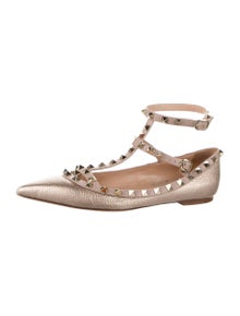 Valentino Rockstud Accents Leather Flats