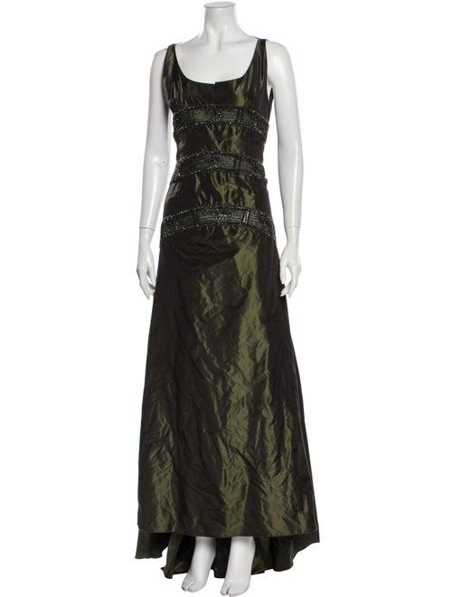 Valentino Silk Long Dress Green