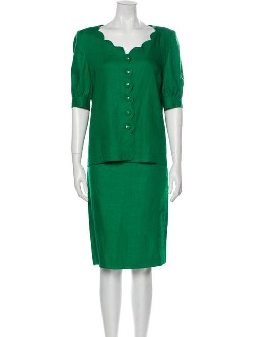 Valentino Linen Skirt Suit Green - image 1