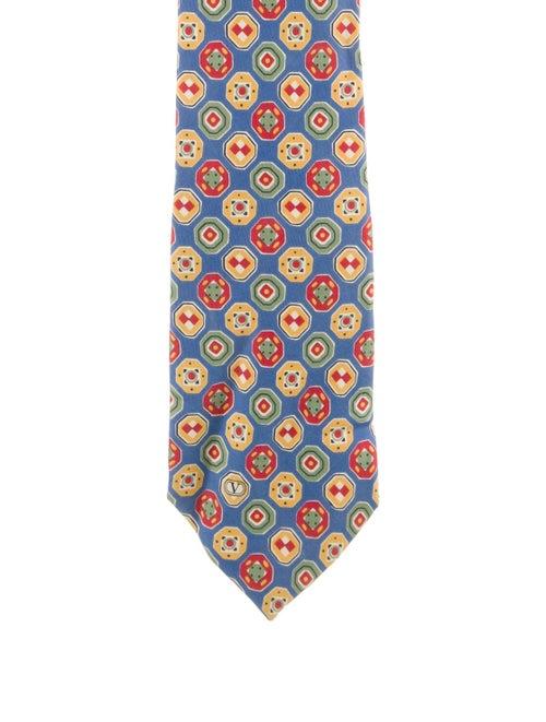 Valentino Printed Silk Tie blue