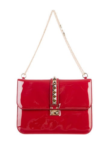 Rockstud Large Patent Flap Bag