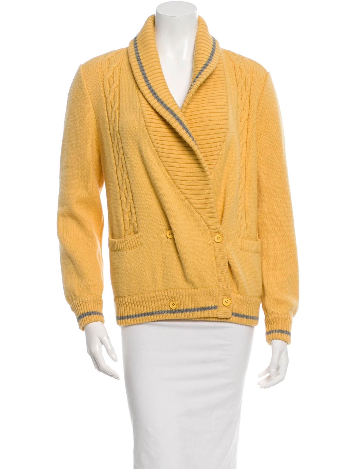 Knitting Cardigan Collar : Valentino cable knit shawl collar cardigan clothing