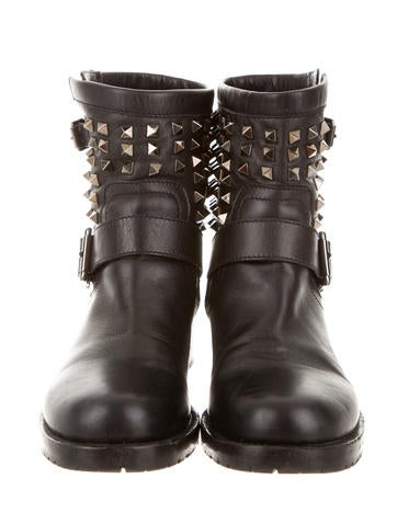 Leather Rockstud Moto Boots