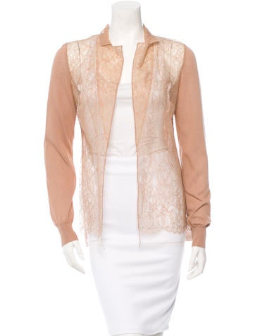 Valentino Lace-Trimmed Cardigan w/ Tags None