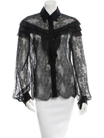 Valentino Lace Button-Up Top w/ Tags None