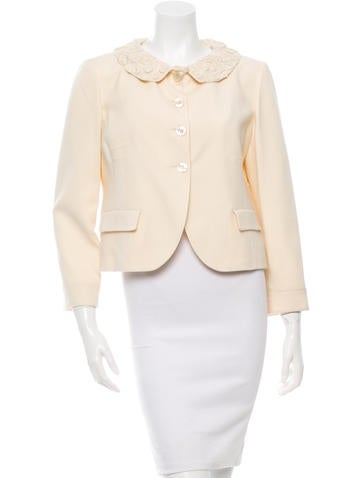 Valentino Wool Embellished Jacket w/ Tags None
