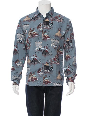 Valentino Printed Button-Up Shirt w/ Tags None