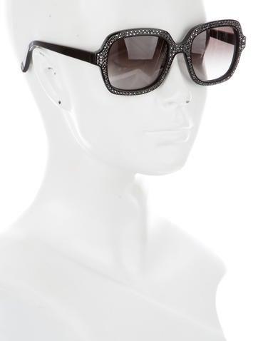Crystal Embellished Square Sunglasses
