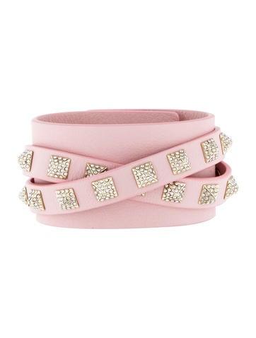 Crystal Rockstud Leather Wrap Bracelet