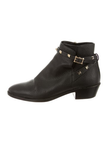 Leather Rockstud Ankle Boots
