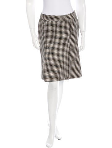 Valentino Wool Houndstooth Skirt None