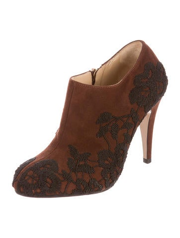 Suede Embroidered Booties