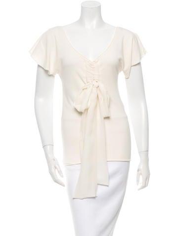 Valentino Silk Tie Knit Top None