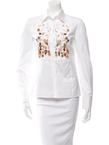 Valentino Embroidered Button-Up Top None