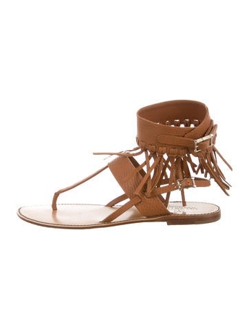 Valentino Leather Fringed Sandals None