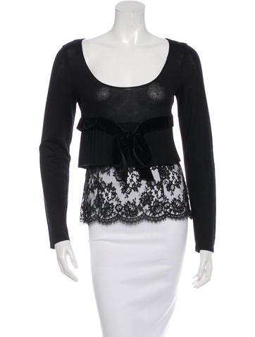 Valentino Virgin Wool Lace Trim Sweater None