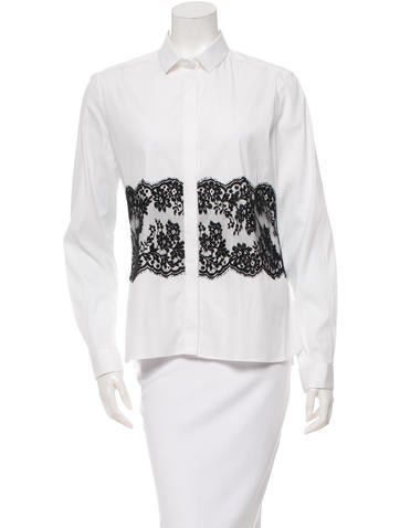 Valentino Lace-Paneled Button-Up Top None