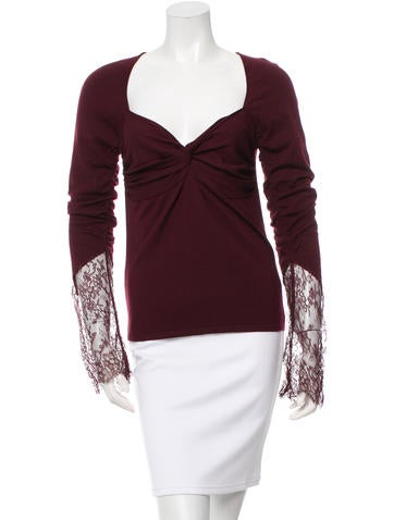 Valentino Wool Lace-Trimmed Knit None