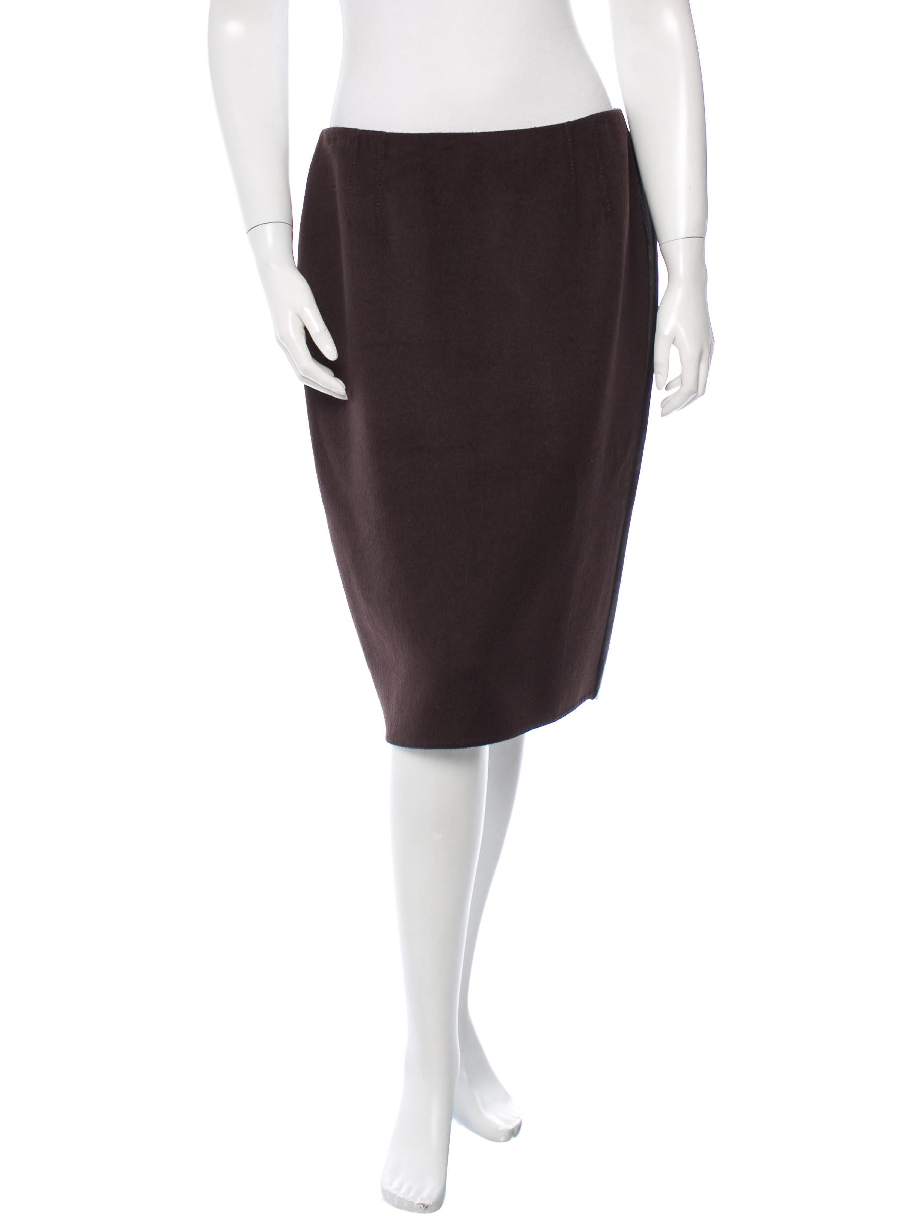 valentino leather trimmed sheath skirt clothing