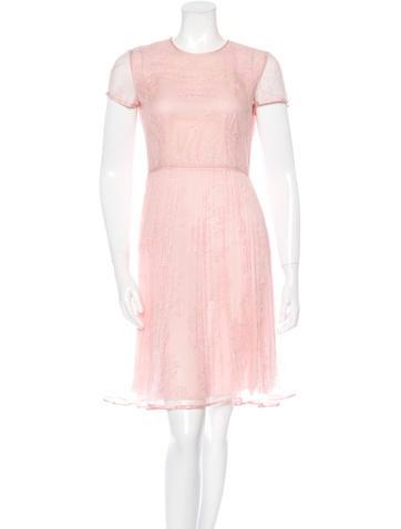 Valentino Pleated Lace Dress None
