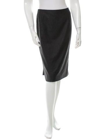 Valentino Wool & Cashmere-Blend Skirt None