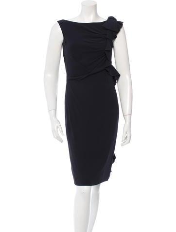 Valentino Sleeveless Ruffle-Trimmed Dress