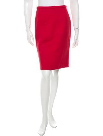 Valentino Wool Pencil Skirt None