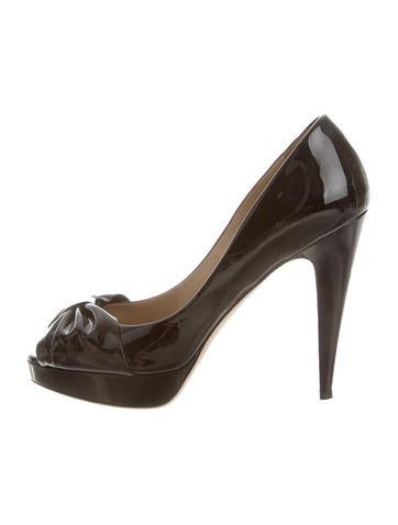 Valentino Bow Peep-Toe Pumps None