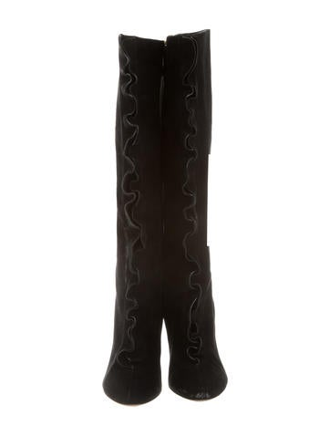 Suede Ruffle Front Knee-High Boots