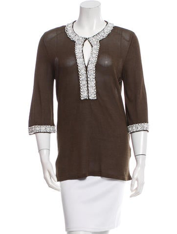 Valentino Knit Embellished-Trim Top None