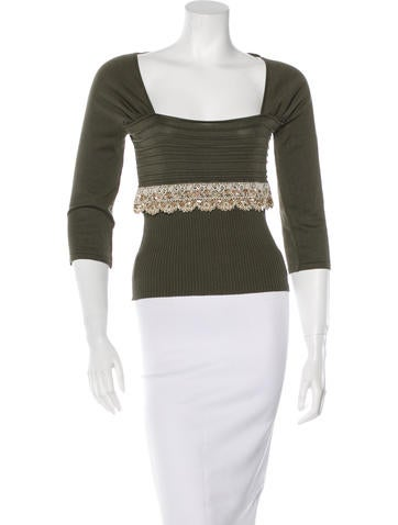 Valentino Embellished Knit Sweater None