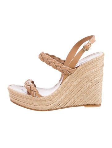 Valentino Braided Leather Espadrille Wedges None