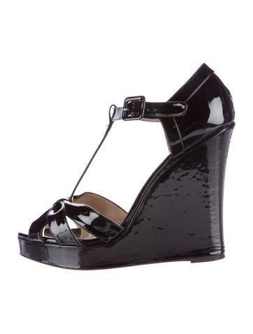 Valentino Patent Wedge Sandals None