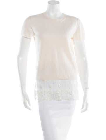 Valentino Virgin Wool Lace-Trimmed Sweater None