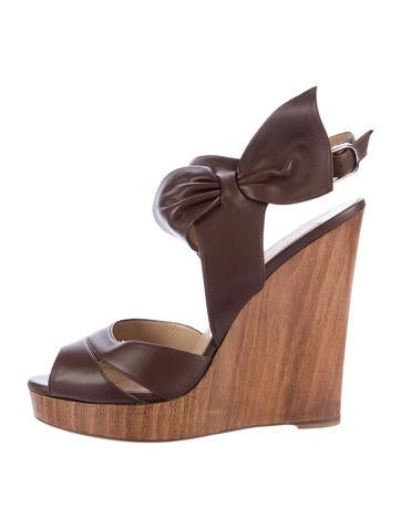 Valentino Bow Wedge Sandals None