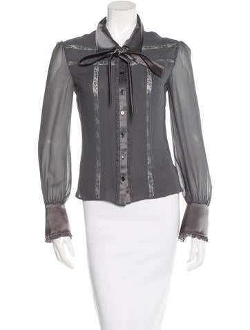 Valentino Lace-Trimmed Silk Blouse None