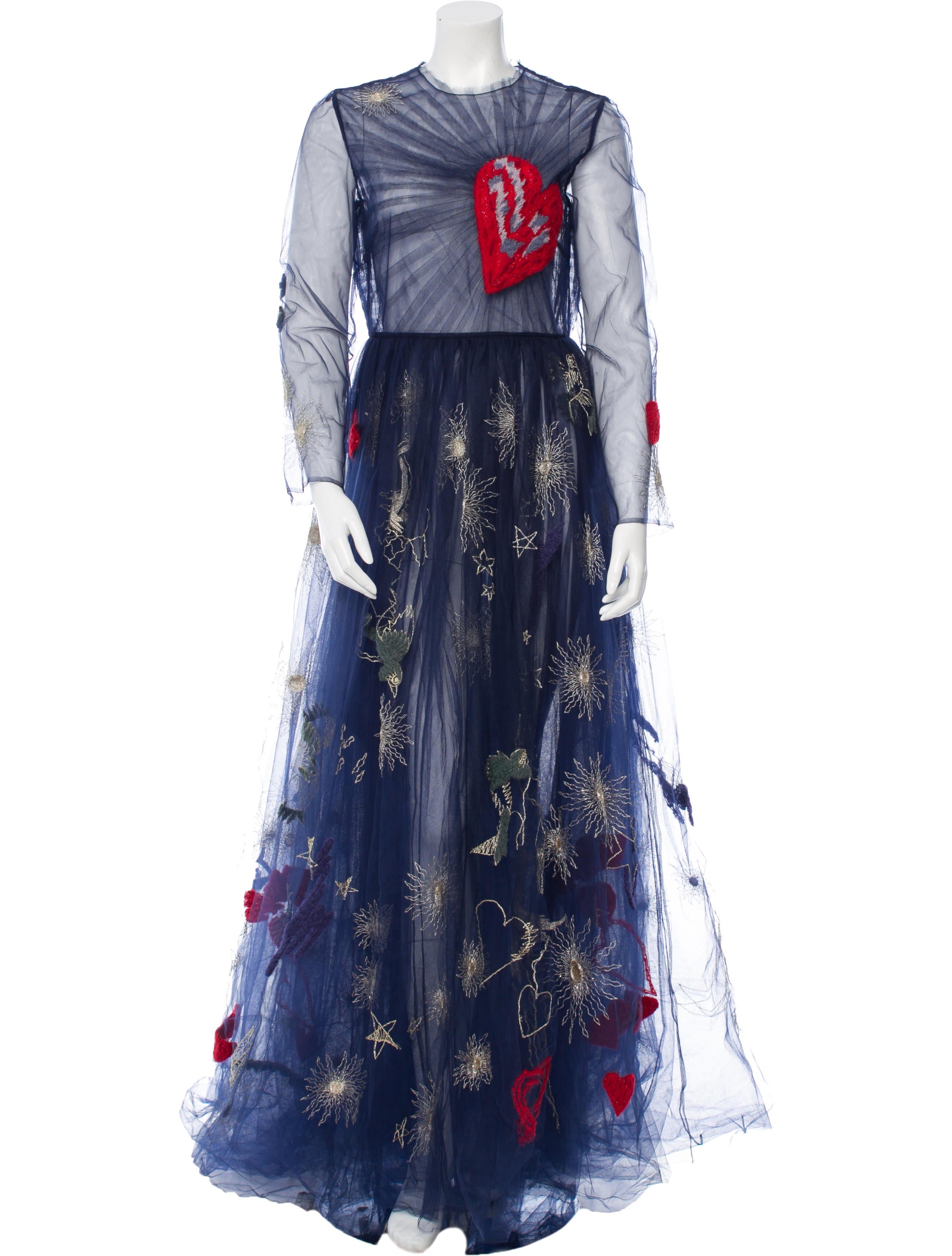 Valentino Heart-Embroidered Tulle Gown - Clothing - VAL50219 | The ...