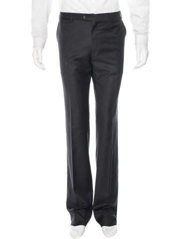 Valentino Virgin Wool Flat Front Pants None