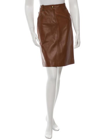 Valentino Leather Knee-Length Skirt None
