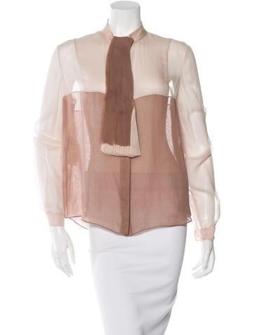 Valentino Silk Colorblock Top w/ Tags None