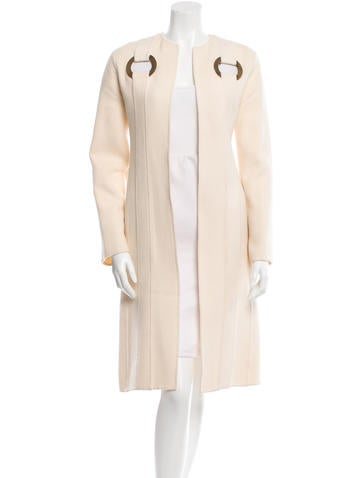 Valentino Long Eyelet-Accented Coat