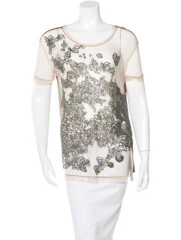 Valentino Embellished Mesh T-Shirt None